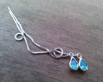 Aquamarine Threader Earrings, Long Earrings, Sterling Silver Earrings, Chain Earrings, Blue Stone Ear Thread Earrings March Birthstone Charm
