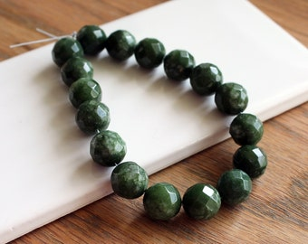 Canadian Jade Beads. Round Faceted 12mm. 8 Inch Strand 17 Beads. Natural Canadian Jade Gemstone Bead. Shades of Olive Green with White. #481