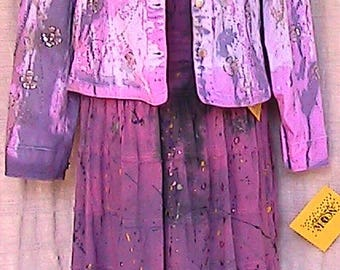 Large Hand Dyed Hand Painted Cotton Spandex Jacket