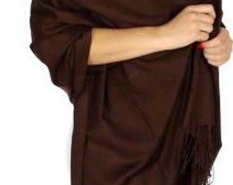 Chocolate brown Wedding Pashmina Scarf -  brown Bridesmaid's gifts - brown Bridesmaid's scarf - brown bridal Shawl - brown favors