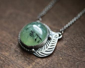 soft green prehnite gemstone pendant. antique sterling silver. oxidized leaf tree veins. green nature jewelry. (unfurling fern. necklace)