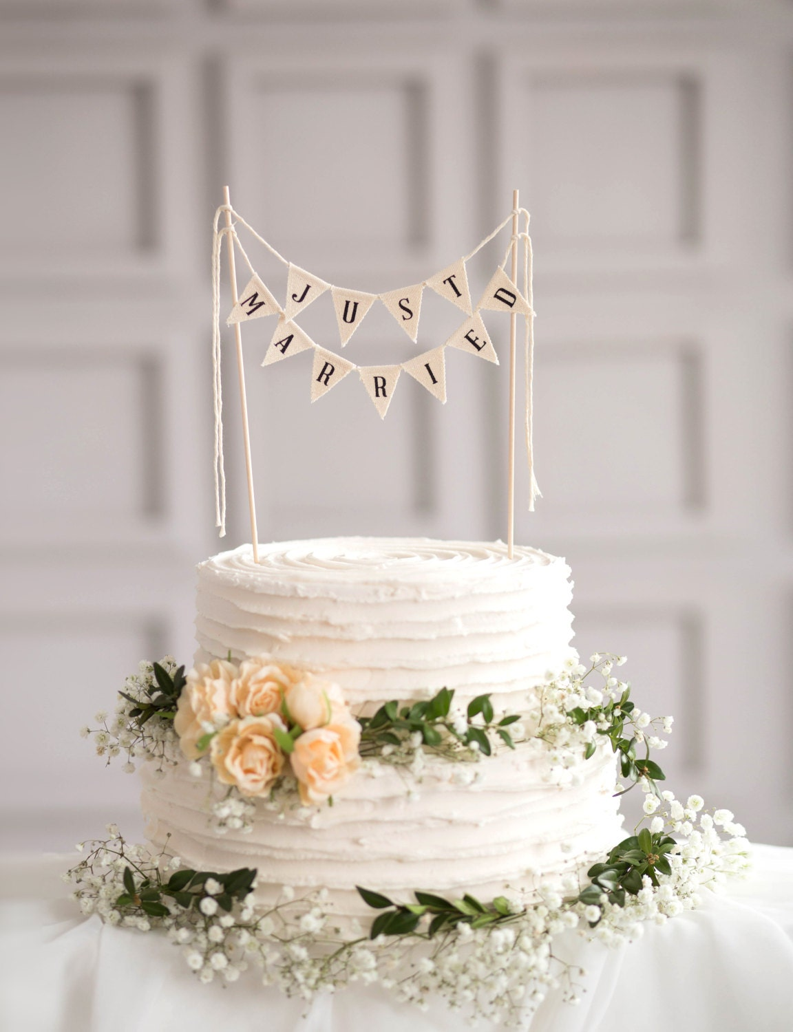 Just Married Wedding Cake Topper Banner rustic by ...