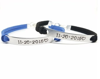 Anniversary Gift   Custom Anniversary Date Bracelets   Matching Couples Bracelet   Personalized His and Hers Bracelet   Date and Heart