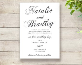 DIY Elegant Wedding Invitation template, printable invitations, romantic, 'Natalie', any colours. Edit in Word or Pages