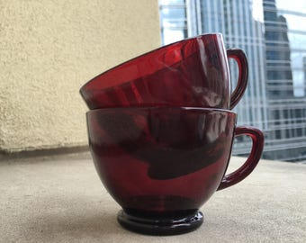 Ruby Red Glass Punch Bowl Cups