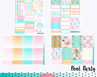 POOL PARTY Planner Sticker Kit - great for planning in your Erin Condren Life Planner - Blue, Pink, Flamingo. Vertical Hourly Horizontal