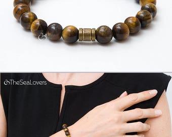 Brown beaded bracelet Tiger eye bracelet Men's dark beaded bracelet Gift for men Tiger's Eye jewelry Healing stone Everyday jewelry