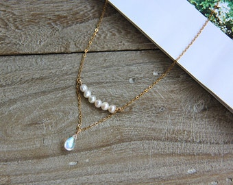 Drop Moonstone Necklace, Natural Water Pearl Necklace, 14k Gold Filled Necklace, Sterling Silver Necklace, Gemstone Necklace, Drop Moonstone