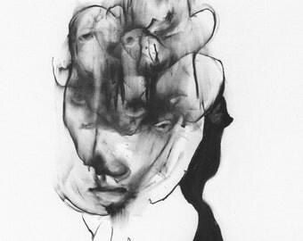 "Figurative Charcoal Drawing ""Mind Meld"" - Giclee Print -"