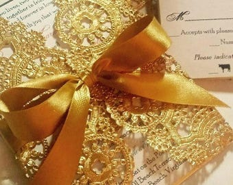 Gold Metallic Doily Wedding Invitations / Luxury Invitations / Couture Invitations / Elegant Invitations