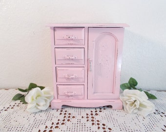 Pink Music Jewelry Box Up Cycled Vintage Shabby Chic Country Farmhouse Romantic Cottage Girly Girl Bedroom Home Decor Birthday Gift Her