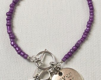 Purple Seed Bead Bracelet for Eating Disorder Recovery Awareness and Support