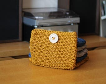 Small Yellow Crocheted Cosmetic Bag