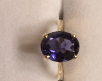 Large Iolite Solitaire 14KT Gold Ring