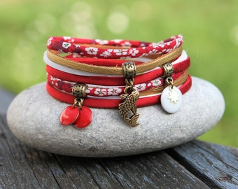 Bracelet liberty mitsi and silk 2 laps _ red white gold and bronze _ _ cord bracelet Sun koi carp fabric Japan