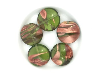 8 Czech Glass Coin Transparent Green, Copper Decoration, Pressed Bead, 17mm, A0093F
