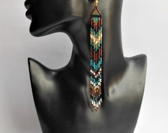 Very Long Earrings Beaded Fringe Extra Long Earrings Shoulder Dusters Long Earrings Beadwork Earrings Dangle Fringe Earrings  Beaded Jewelry