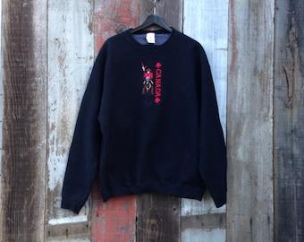 Faded Canada Sweatshirt, Retro Black Canada Sweatshirt, XL Cool Canada Sweatshirt, Maple Leaf Sweatshirt, Canada Black Sweatshirt