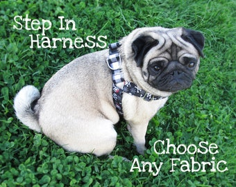 Step in dog harness, step in harness, mixed print harness, fabric dog harness, custom dog harness, nylon dog harness, cotton dog harness