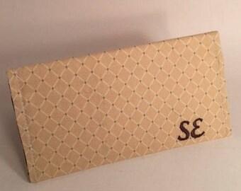 Tan Checkbook cover, leopard print, fabric checkbook, Duplicate Checkbook Cover,  LMiller Creations