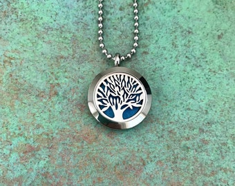 25mm Stainless Steel Tree Of Life Essential Oil Diffuser Necklace, Aromatherapy, Homeopathy, Natural Healing, Tree Of Knowledge, Gift Idea