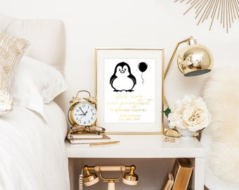 Penguin Nursery Art / You Are Our Greatest Adventure Sign / Nursery Wall Art / Nursery Decor / Personalized Print / Gold Nursery Decor / Art
