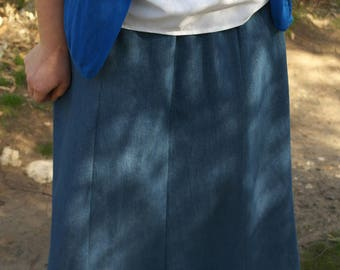 Modest denim gore skirt with lace trim