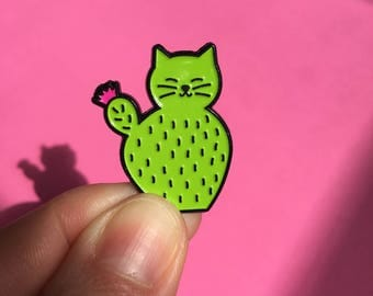 Catcus enamel pin, Cactus Cat pin , catcus pin, cute cat pin, soft enamel pin, lapel pin badge, kitten pin, cactus pin, HibouDesigns