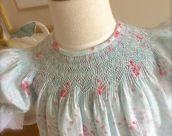 Blue Vintage Rose Baby  Hand Smocked Sister Girl Vintage Inspired Size 9 months to 6