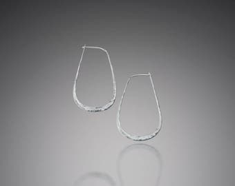 Egg Shaped Hoop Earrings // Medium Sterling Silver Egg Hoops