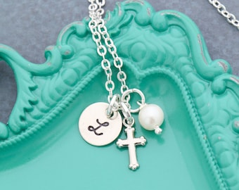 FREE SHIP • Girls Cross Necklace • Baptism Gift • First Communion Necklace • Little Girl Jewelry • Baby Necklace • Cross Pendant