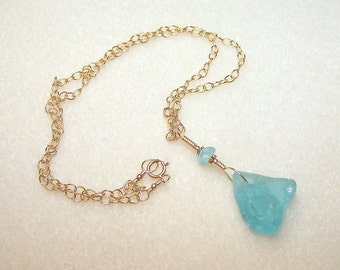 Aquamarine Blue Sea Glass Pendant Necklace 18 Inch Gold Chain One of a Kind Light Blue Beach Jewellery Canada Ready to Ship Ladies Gifts