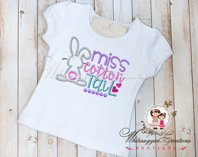 Girls Easter Bunny Shirt - Miss Cotton Tail - Personalized Easter Shirt - Baby Girl Easter Outfit - Sample Sale