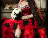 Vampire Red and Black Gothic Wedding Dress with Hand Sewn Rhinestones