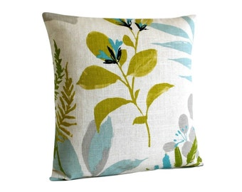 Flowers Pillow Sham, Floral Cushion Cover, Linen Cotton Pillow Cover, Sofa Pillow, Couch Pillow, Citrus and Aqua Pillows - Wildwood Citrus
