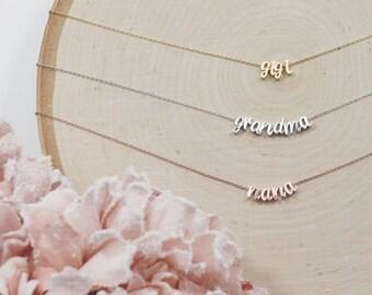 Cursive Grandma Necklace, You Choose Color, Gift for Her, Mother's Day Gift, Grandmother, Nana, Mema, Mimi, Gigi, Yaya