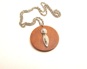 Vintage Virgin Mary Silver Tone and Wood Pendant - Mid Century Medallion Style Necklace - Unique Catholic Jewelry