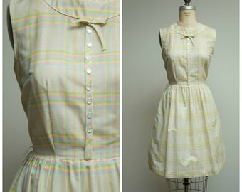 Vintage 1960s Dress • Lemonade Stand • Yellow Pink Blue Plaid Cotton Blend Early 60s Day Dress Size Medium