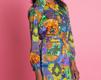 Vintage 1970s Psychedelic Shirt Dress . Dagger Collar . Belted Dress | medium