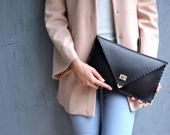 Black Leather clutch/  Black leather bag / Envelope clutch / Leather evening bag / Black leather purse