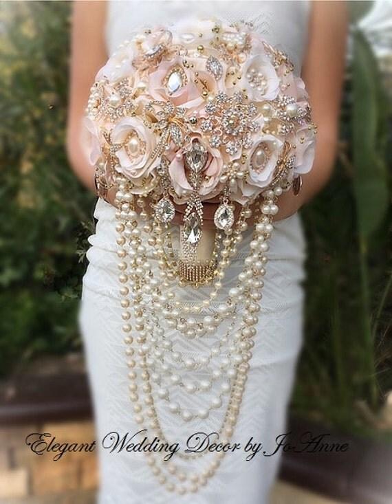 Draping Rose Gold Brooch Bouquet Wedding