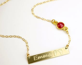 Baby foot print necklace, Engraved bar, Personalized Birthstone Necklace Name Bar Necklace Personalized Handprint Necklace Mothers day gift