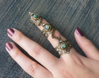 armor ring claw ring Emerald Fire Opal statement ring triple ring knuckle ring steampunk goth victorian moon goddess full finger boho gypsy