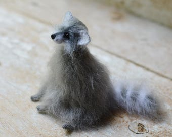 Gray raccoon figurine art doll stuffed animal raccoon animal miniature animals raccoon sculpture raccoon plushies home decor gift for her