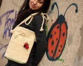 Custom Hand-woven Bag With A Ladybug Brooch And Heart