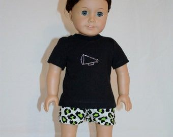 """American Girl 18"""" Doll Cheer Practice Outfit - Green Cheetah Print- t-shirt, shorts, and bow"""