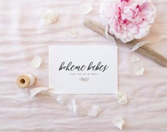 premade logo design · wild calligraphy · handwritten logo · boho logo · photography watermark · small business logo · flourish logo design