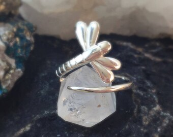 Dragonfly Ring Sterling Silver FREE Gift Box and FREE Shipping Codes Below Nature Insect Jewelry Wrap Around Dragonfly Ring Gypsy Witch Boho