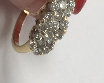 STUNNING 14k Yellow Gold .50 CTW Diamond Cluster Floral Ring Size 6.25