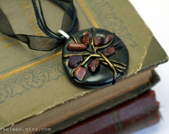 Tree-of-life Red tigers eye pendant, gemstone necklace  Zodiac gemini velwoo